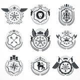 Vintage emblems,  heraldic designs. Coat of Arms Royalty Free Stock Photos