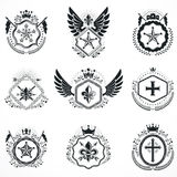 Vintage emblems, vector heraldic designs. Coat of Arms collectio Stock Images