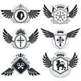 Vintage emblems, vector heraldic designs. Coat of Arms collectio Stock Image