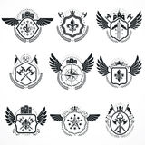 Vintage emblems, vector heraldic designs. Coat of Arms collectio Royalty Free Stock Photography