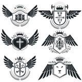 Vintage emblems, vector heraldic designs. Coat of Arms collectio. N, vector set Stock Photo