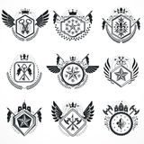 Vintage emblems, vector heraldic designs. Coat of Arms collectio Stock Photography