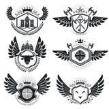 Vintage emblems, vector heraldic designs. Coat of Arms collectio. N, vector set Stock Image