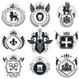 Vintage emblems, vector heraldic designs. Coat of Arms collectio. N, vector set Stock Photos