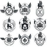 Vintage emblems, vector heraldic designs. Coat of Arms collectio. N, vector set royalty free illustration