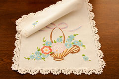 Vintage Embroidered Dresser Scarf Stock Photos
