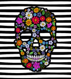 Vintage embroidered flower skull. Muertos Dead Day Fashion design decoration print.  Royalty Free Stock Image