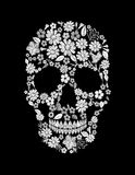 Vintage embroidered flower skull. Muertos Dead Day Fashion design decoration print.   Royalty Free Stock Images