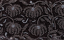 Vintage embroidery by black beads on black velvet Stock Image