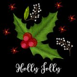 Vintage embroidery christmas composition with holly. Vector ornament Royalty Free Stock Photos