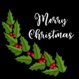 Vintage embroidery christmas composition with holly. Vector ornament Royalty Free Stock Photo