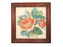 Vintage embroidery handmade wooden frame isolated on white backg Royalty Free Stock Photography