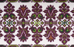 Vintage Embroidery Textile Design. Embroidered handmade design with geometric shapes and stylized flowers. This is used mostly on clothing in Eastern Europe royalty free stock photos