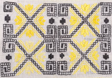 Vintage Embroidery Textile Design. Embroidered handmade design with geometric shapes and stylized flowers. This is used mostly on clothing in Eastern Europe stock photos