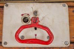 Vintage emergency brake in train Stock Image