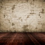 Vintage empty interior with grunge paper wall stock illustration
