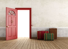 Vintage empty interior with travel bags Royalty Free Stock Photography