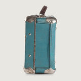 Vintage empty leather suitcase. retro baggage. side view Royalty Free Stock Photo