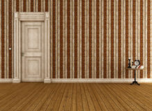 Empty vintage room with dirty classic door Stock Images