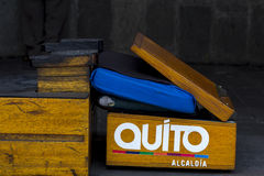 Vintage empty shine shoe box seat with Quito sticker on it, Ecuador Royalty Free Stock Image