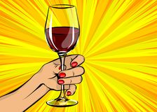 Vintage en verre de vin rouge de prise de main de femme d'art de bruit illustration stock