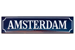 Vintage enamel street sign with the text Amsterdam. Isolated on a white background stock photo