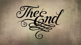 Vintage. The End 2d calygraphy animation. Alpha channel included stock illustration