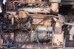 Vintage engine car system. Part of old diesel engine of heavy tr Royalty Free Stock Photo