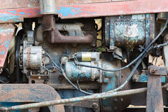 Vintage engine car system. Part of old diesel engine of heavy tr Stock Photography