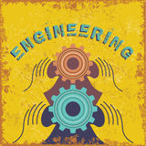 Vintage engineering concept with gear and hands Stock Images