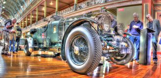 Vintage English built Bently motor car. Vintage English built green Bently motor car on display at car show in Melbourne, Australia Stock Photos