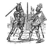 Vintage Engraved Art Knights fighting duel. Line art drawing, engraved two knights fighting wearing suits of armor as royalty watches Stock Photo