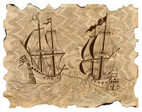 Vintage engraved illustration of pirate ships in sea battle on old parchment. Vintage engraved illustration of old sailing ships in sea battle on grunge Royalty Free Stock Photo