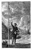 Vintage engraving, Application of electricity, train emergency s Royalty Free Stock Images