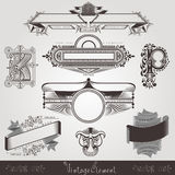 Vintage engraving banners with different letter and pattern Stock Photo