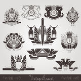 Vintage engraving banners or labels with plant eagle bull and pattern Royalty Free Stock Photography