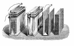 Vintage engraving, Battery - Daniell cell -  section and working Royalty Free Stock Photography