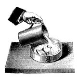 Vintage engraving chemistry, how to cast the mold of a coin Royalty Free Stock Image