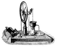 Vintage engraving, electric pump Royalty Free Stock Image