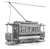 Vintage engraving, electric tramway. Print from the late 1800s depicting an electric German tram Royalty Free Stock Image