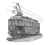 Vintage engraving, electric tramway. Print from the late 1800s depicting an electric tram Royalty Free Stock Images