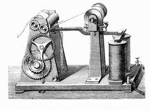 Vintage engraving, Morse's telegraph Royalty Free Stock Images