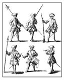 Vintage engraving, prussian soldier characters early 18th centur Royalty Free Stock Images