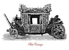 Royal state carriage, vintage illustration Royalty Free Stock Images