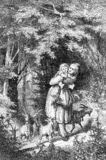 Vintage engraving, walk in the woods. Mother, girl and four small goatlings stock illustration