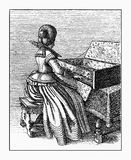 Vintage engraving young spinet player, XVII century Stock Image