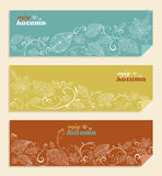 Vintage Enjoy autumn text and leaves background EP Stock Photos