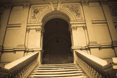 Vintage entrance. Ornamental old  retro entrance with jaggies and banisters Royalty Free Stock Image