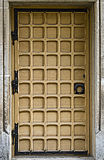 Vintage entrance door. Front door with rectangular decor Royalty Free Stock Images