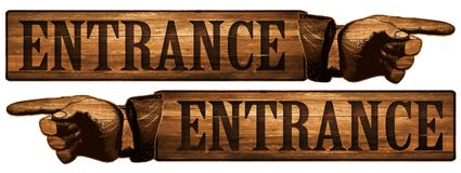 Vintage Entrance Sign Pointing Finger Stock Photo